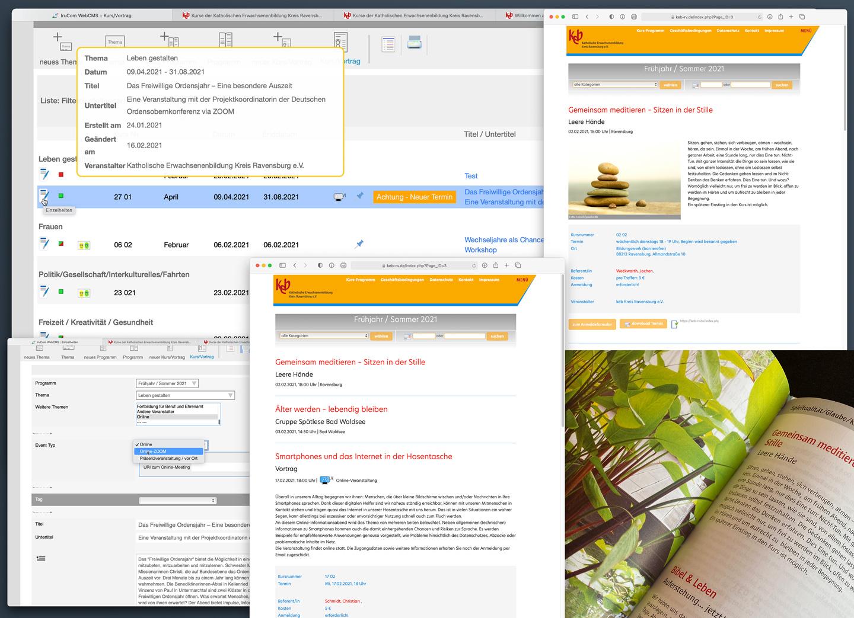 Bild:Eventmanagement Modul im IruCom WebCMS
