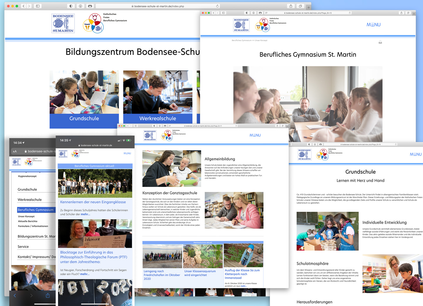 Bild:Screenshot: Website der Bodensee-Schule St. Martin